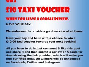 FREE £10 Taxi Voucher